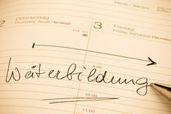 Entry to the calendar training Royalty Free Stock Image