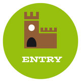 Entry to the castle. On white background. Vector illustration Royalty Free Stock Image