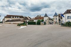 Entry to Chablis in France. View of the Porte Noel gate, in Chablis, Burgundy, France stock image