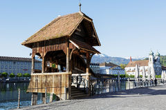 Entry to the Chapel Bridge in Lucerne Stock Image
