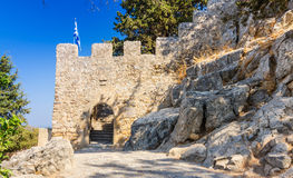 Entry to Lindos castle. Old Greek architecture in Lindos city royalty free stock photos
