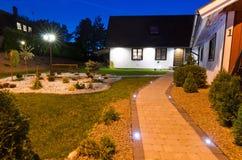 Entry to modern villa garden royalty free stock photography