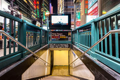 Entry to subway station at Times Square, New York City Royalty Free Stock Photos