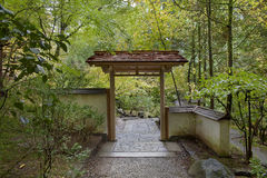 Entryway at Japanese Garden in Autumn Season Royalty Free Stock Images
