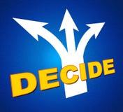 Entscheiden Sie, dass Pfeile die unentschlossene und auserlesene Abstimmung anzeigt Stockfotografie
