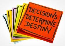 Entscheidungen bestimmen Schicksalsanzeigenanmerkung Lizenzfreie Stockbilder