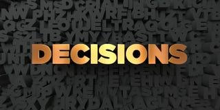 Entscheidungen - Goldtext auf schwarzem Hintergrund - 3D übertrugen freies Bild der Abgabe auf Lager stock abbildung