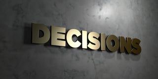 Entscheidungen - Goldzeichen angebracht an der glatten Marmorwand - 3D übertrugen freie Illustration der Abgabe auf Lager stock abbildung