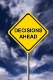 Entscheidungen voran Stockfoto