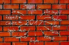 Entschließung des neuen Jahr-2017, Ziele geschrieben auf Pappe mit Hand gezeichneten Skizzen Lizenzfreie Stockbilder