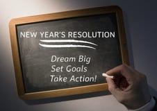 Entschließung des neuen Jahres der Handschrift auf Schiefer Lizenzfreie Stockfotos