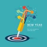 Entschließungskonzeptillustration des neuen Jahres Stockfoto