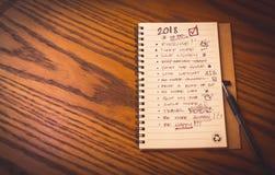 Entschließungsliste des neuen Jahres Stockbilder