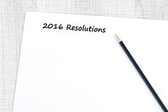 Entschließungswort 2016 auf Hintergrund des leeren Papiers Lizenzfreie Stockbilder