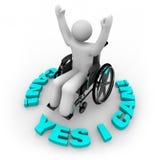 Entschlossene Rollstuhl-Person - ja kann ich Stockbilder