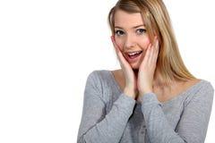 Entsetzte blonde Frau Lizenzfreies Stockfoto