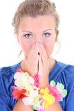 Entsetzte Frau im Blau Lizenzfreies Stockfoto