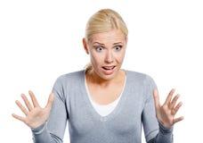 Entsetzte Frau mit ihrem Mund geöffnet Stockfotografie