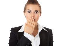 Entsetzte Geschäftsfrau Stockfoto