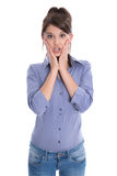 Entsetzte oder überraschte junge Frau lokalisiert auf Weiß. Lizenzfreies Stockfoto