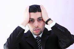 Entsetzter arabischer Geschäftsmann mit dem Daumen oben Lizenzfreies Stockfoto