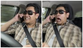 Entsetzter Fahrer-About To Have-Unfall stockbilder