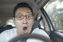 Entsetzter Fahrer-About To Have-Unfall lizenzfreies stockbild