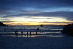 Entspannen Sie sich Abend des Pazifischen Ozeans stockbilder