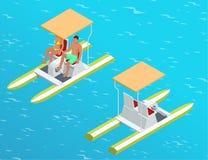 Entspannen Sie sich auf dem Paddelboot Paare auf pedalo nannten auch Tretboot auf einem See Palmen und Starfish, Vektor Flaches 3 Lizenzfreie Stockbilder