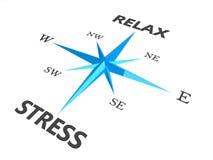 Entspannen Sie sich Druck und entspannen Sie sich Wörter auf Kompaß Lizenzfreies Stockbild