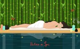 entspannen Sie sich im Badekurort Frau im Badekurort Auch im corel abgehobenen Betrag stock abbildung