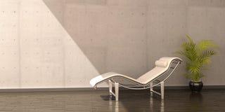 Entspannen Sie sich Innenraumszene der ledernen Blume des Stuhls weiße stock abbildung