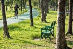 Entspannen Sie sich Stuhl im Park nahe Fahrradweg und laufenden Weg am Morgen Leute execise Konzept Radfahrer und Läufer im Garte lizenzfreies stockfoto