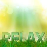 Entspannen Sie sich Text in einer Rasenfläche Stockbild