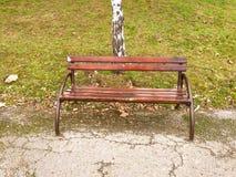 Entspannen Sie sich und nehmen Sie ein Restkonzept Hölzernes Chesterfield mit Metallboden und grünem Gras im Park oder im Garten  Stockfoto