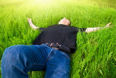 Entspannen Sie sich unter Frühlingssonne Stockfotos