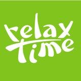 Entspannen Sie sich Zeitzeichenlogovektor-Illustrationshintergrund Stockbilder
