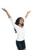 Entspannende Afroamerikaner-Frau Stockfoto
