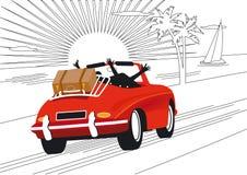 Entspannende Feiertage durch Auto Stockfoto