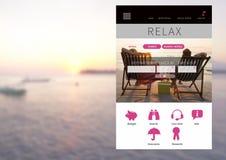 entspannende Feiertagsurlaub APP-Schnittstelle mit Meer Stockfoto