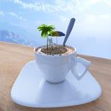 Entspannende Konzeptzusammensetzung der Kaffeetasse-Ferien Lizenzfreie Stockbilder