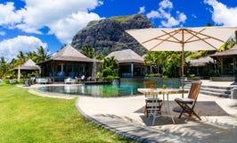 Entspannende Stange im Palmenschatten im tropischen Paradies Mauritius-isla lizenzfreie stockfotografie