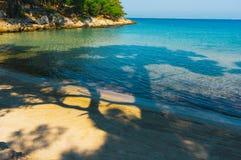 Entspannende Strandansicht Stockfotos