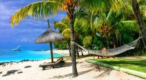 Entspannende tropische Feiertage mit Strandstühlen und Hängematte Maurit Lizenzfreie Stockbilder