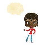 entspannte Frau der Karikatur, die mit Gedankenblase zeigt Stockfoto