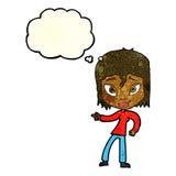entspannte Frau der Karikatur, die mit Gedankenblase zeigt Stockbild