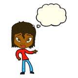 entspannte Frau der Karikatur, die mit Gedankenblase zeigt Stockbilder