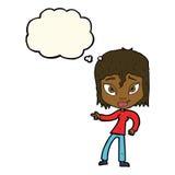 entspannte Frau der Karikatur, die mit Gedankenblase zeigt Lizenzfreie Stockbilder