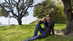 Entspannte Geschäftsperson, die auf grünem Gras nahe dem Baum, sprechend auf Smartphone sitzt stock video footage