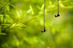 Entspannte und natürliche Kopfhörer stockbild